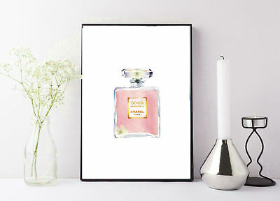 print/poster drawing painting coco chanel pink and gold perfume bottle
