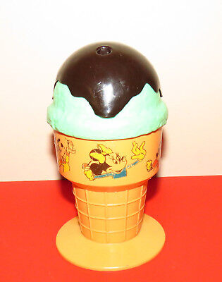 Walt Disney Productions Ice Cream Cone Mug Cup Plastic Mickey Donald Pluto Vtg