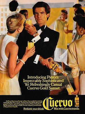 """1986 Pierce Brosnan at Party photo """"Sophisticated"""" Cuervo Gold Tequila print ad"""