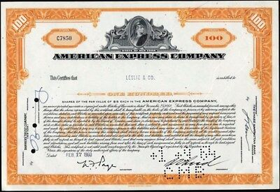 American Express Company, New York, Cancelled Abnco Stock Certificate