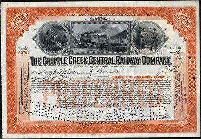 Cripple Creek Central Railway Co Of Colorado, 1926, Issued Stock Certificate