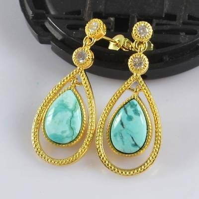 Natural Genuine Turquoise Pave CZ Dangle Stud Earrings Gold Plated H120846