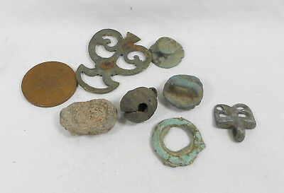 Lot of  Seven Small Artifacts Roman ?  - bronze and  one lead seal