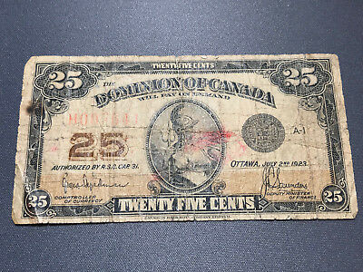 1923 Dominion of Canada Low Serial 007641 25 Cents Old Bill Shinplaster
