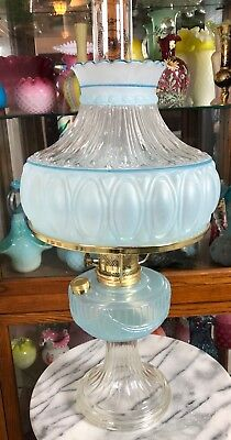 1997 Aladdin Light Blue Clear Lincoln Drape Oil Lamp With Shade