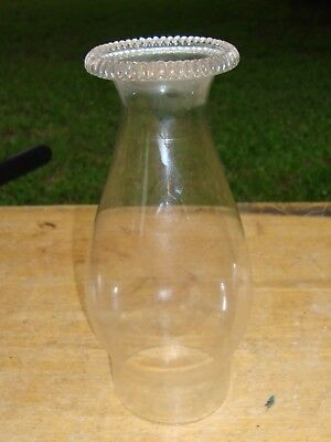 """Antique Glass Oil Lamp Chimney Shade Piecrust Top 3"""" Fitter"""
