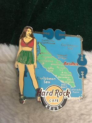 Hard Rock Cafe Pin Aruba ~ Girl in Green Skirt Standing in Front of an Aruba Map