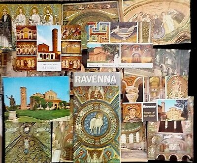 14 Colorful Vintage Postcards Of Ravenna Italy & 12 Page Brochure