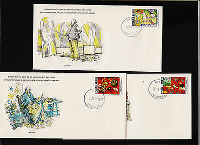 X3 1979 Maldives International Council of Museums FDC Sc#506,508,509 Signed