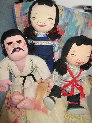 2 Vintage Micale Michael Lee Cloth Doll with tags & Karate cloth doll
