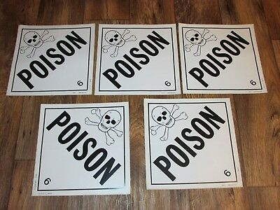 Lot Of 5 Poison Decal Stickers, Skull & Cross Bones, Industrial, Class 6,
