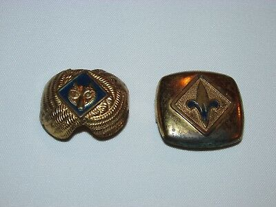 Lot Of 2 Vintage Boy Scout Scarf Slides, Bolo's, Used, Some Wear,