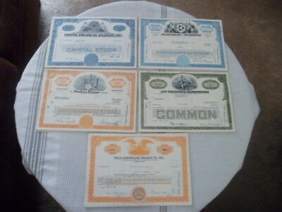 Canceled Stock Certifacates Lot of 5 North American Aviation Perkin-Elmer More