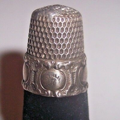 Antique Vintage Sterling Silver Sewing Thimble Size 7 Marked Decorative