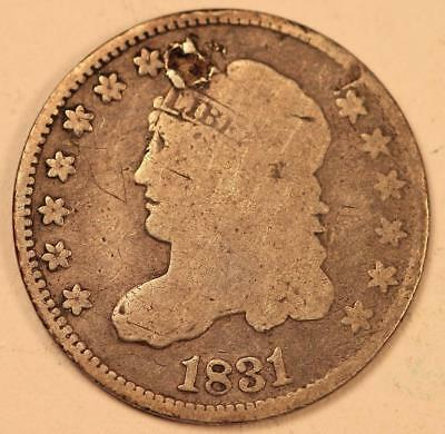 Genuine US Fur Trade Era 1831 Silver Half Dime 10 Cent Coin NR