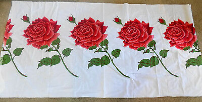 Vintage Cotton Fabric White w Large Red Roses 2 yards 36 1/2 Wide