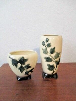 """Vintage Royal Copley 7"""" Ivy Footed Vase & Matching 4"""" Ivy Footed Planter - MINT"""