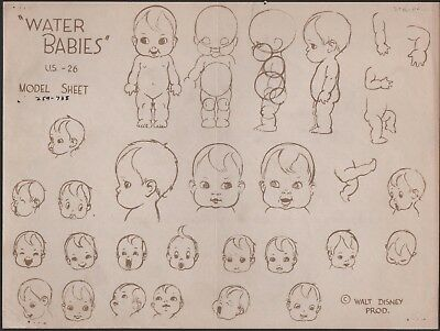 Water Babies Silly Symphonies 1935 Walt Disney production animation model sheet