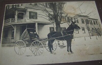 c1890 ANTIQUE CHATHAM NY COLUMBIA COUNTY VICTORIAN HOUSE HORSE BUGGY PHOTO