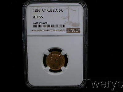 1898 At Russia Gold 5 Roubles Ngc Au 55