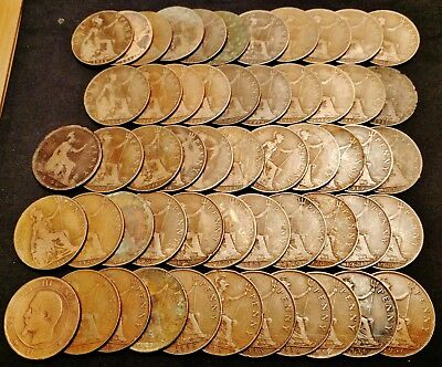 54 x 1866 to 1936 Great Britain Pennies - Nice Early Dates