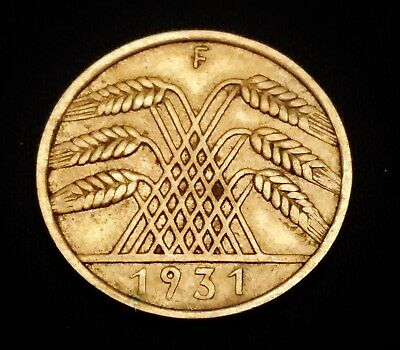 1931-F 10 Rentenpfennig Coin from Germany - Nice Looking Coin