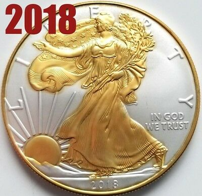 NEW  2018 American Silver Eagle , 24k Gold Gilded  1oz .999 pure Silver Coin