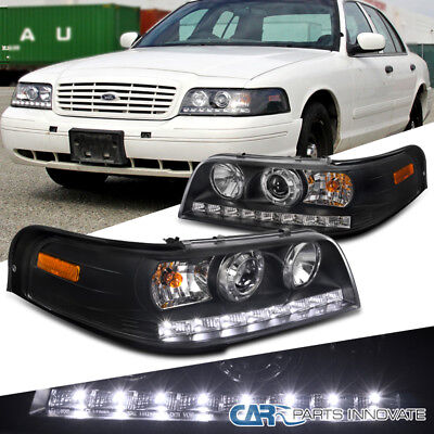 1998-2011 Ford Crown Victoria Black SMD LED DRL Strip Projector Headlights