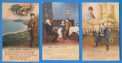 Home Sweet Home.set Of 3 Bamforth World War One Song Cards.postcards