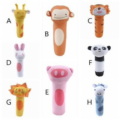Newborn Baby Hand Rattle Appease Hand Catch Animal Stick Cute Educational Toy