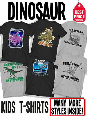 KIDS FUNNY Organic Cotton Retro 80s Dinosaur SLOGAN T-Shirts For Boys and Girls