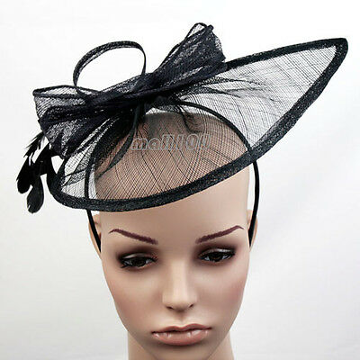 Sinamay Feather Fascinator Formal Headpiece Hat Race Prom Ascot Party Wedding