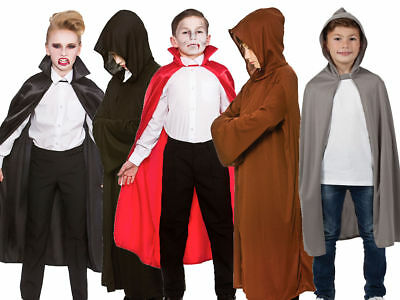 Kids Hooded Cape Halloween Fancy Dress Vampire Accessory Boys Girls