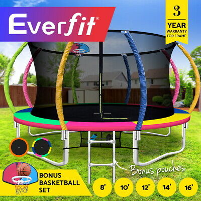 Everfit 8/10/12/14/16FT Trampoline Round Trampolines Basketball set Kids Gift