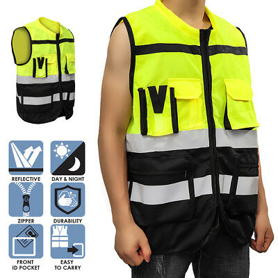 Hi-Vis Safety Vest Reflective Driving Jacket Worker Night Security Waistcoat