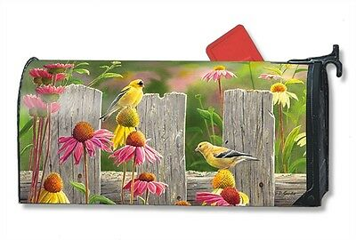 Goldfinches Coneflowers /w fence Mail Box Wrap magnetic Mailwrap mailbox cover