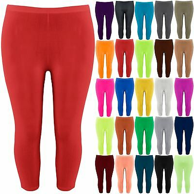 Plus Size Ladies Womens Gymming Running 3/4 Length Jog Bottoms Leggings