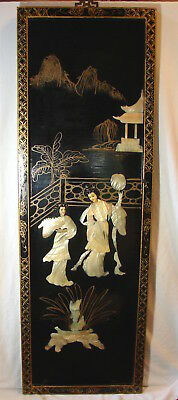 Vintage Oriental Black Laquer Mother of Pearl Geisha Girls Wall Hanging Panel