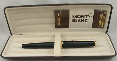 Montblanc Classic Black & Gold Fountain Pen in Box - 1970's - 18kt Gold Nib