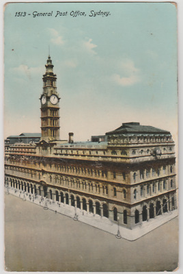 Australia NSW NEW SOUTH WALES Post Office GPO SYDNEY Wood postcard used 1914