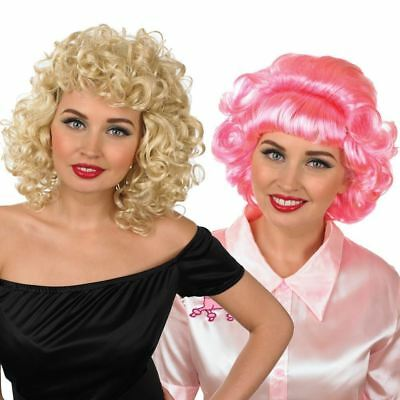 Adult Pink Ladies Wig Sandy Frenchy Wig Fancy Dress Costume Accessory New