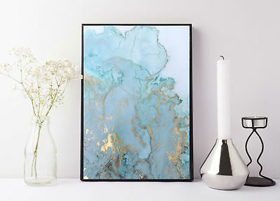 quote life poster picture print blue and gold marble print