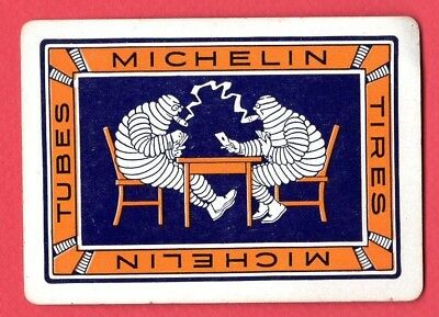Single Swap Playing Card AD MICHELIN TIRE MEN PLAY CARDS & SMOKE WIDE VINTAGE