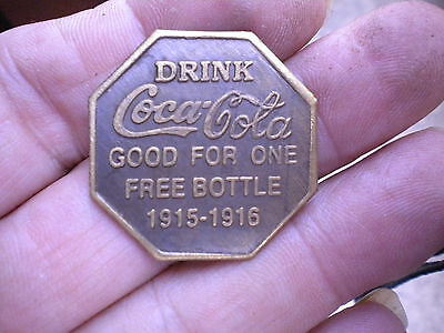 coca cola token 1915 - 1916 good for one free bottle .. six sided fantacy