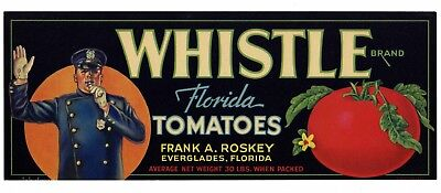 WHISTLE Brand, Policeman, Officer Florida **AN ORIGINAL TOMATO CRATE LABEL** L03