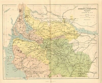 original 1868 colour map of the counties of stirling & dumbarton