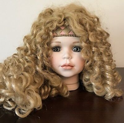 """William Tung Porcelain 6"""" Doll Head Only Blonde Blue Eyes Headband NEW OLD STOCK"""