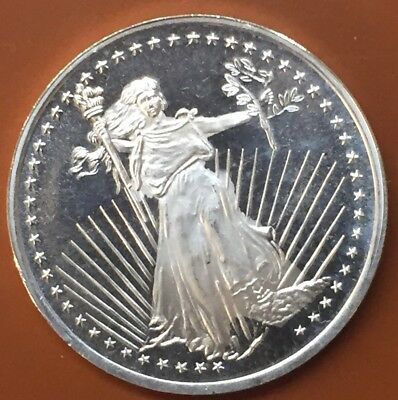 """Silvertowne """"St Gaudens Liberty"""" Round 1 One Troy Oz Ounce .999 Silver Coin #2"""