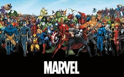 Marvel Comic Characters the Lineup 34 x 22.5 Art Print Poster Wall Decor Include