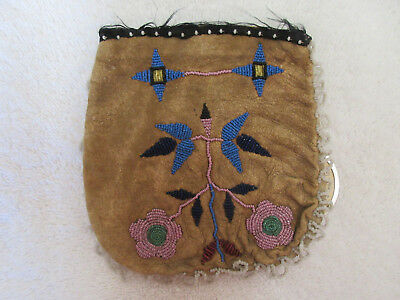 Very Nice 1860 Beaded Woodland Bag With Doc--Nr!